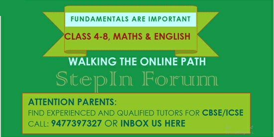 Reference for Private Tutors offering online Classes in Maths and English language from Class 4 to Class 8 in CBSE and ICSE boards