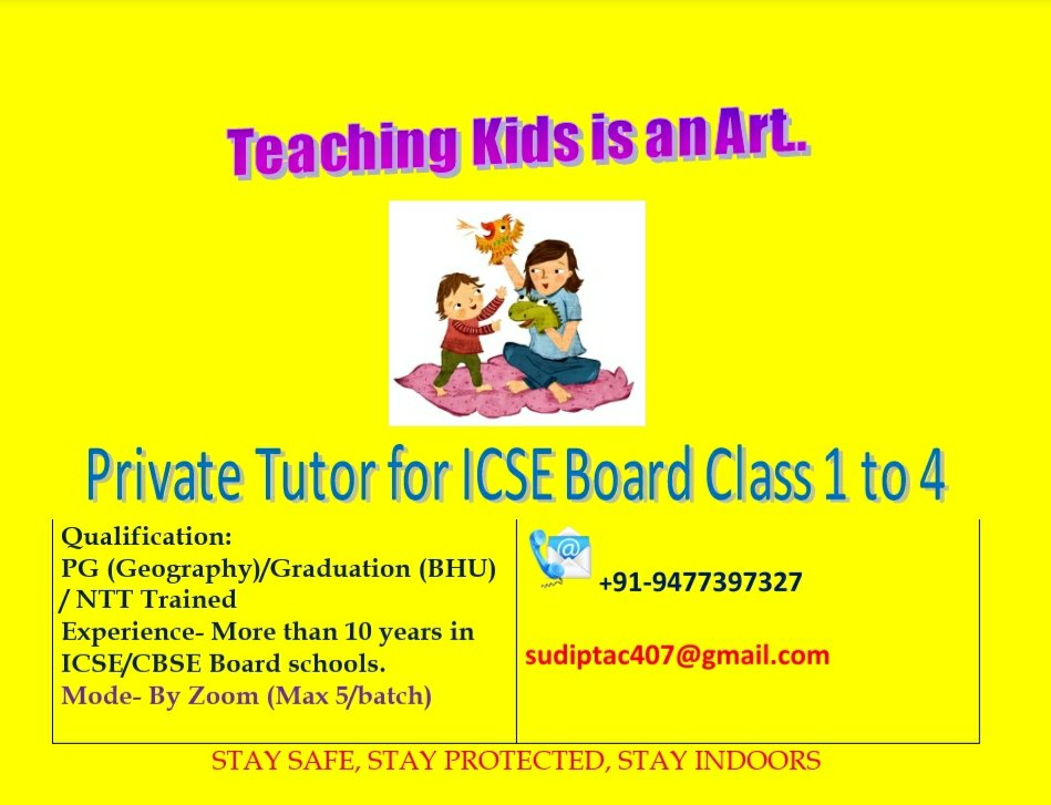Private Tutor for students of ICSE and CBSE boards from Class 1 to Class 4 near Garia